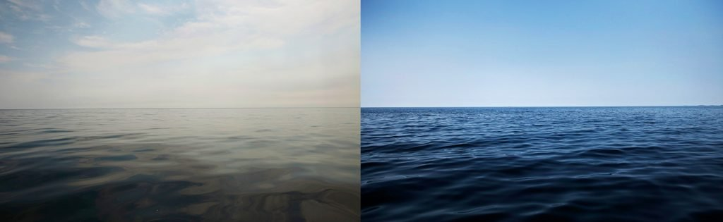 side by side views of the waterline at fogo island and gibraltar point © Steffen Jagenburg